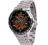 Men's Skeleton Watch Black Disc Automatic Mechanical Watch Men Strip Cool Watch Unique Watch