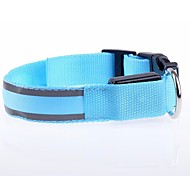 New fashion Nylon LED dog collar Striped 7 colors choose Sizes S-XL to Dog  collars