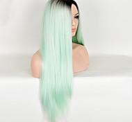 moda europea y americana de alta temperatura de color verde peluca recta