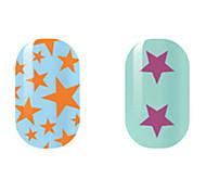 Orange/Purple Star Hollow Nail Stickers