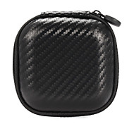 Portable Mini Headphone Pouches Cases Square Snakeskin EVA Earbuds Earphone Carry Bags 8.5*8.5*4cm Black