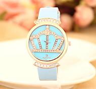 Women's Fashionable  Leisure Crown Diamond Dial Quartz Watch Leather Band Cool Watches Unique Watches