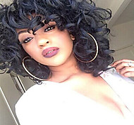 Black Medium Fashion  Women Lady  Synthetic Wave Wigs