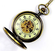Unisex Pocket Watch Vintage Gold Surface Luminous Numbers Face Hollow Mechanical Pocket Watch Cool Watches Unique Watches