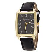 Montre bague en or de montre-bracelet rectangulaire plaque blanche PU bande de quartz de dames (couleurs assorties)