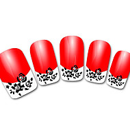 Abstract Red XF821 French 3D Nail Stickers