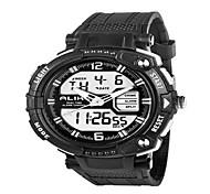 Da uomo Orologio da polso LED Calendario Cronografo Resistente all'acqua Due fusi orari allarme Quarzo PU Banda Nero