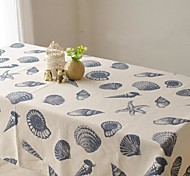 Oceanic Patterned Table Cloth Fashion Hotsale High-grade Cotton Linen Square Coffee Table Cloth Cover Towel