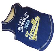 Dog Shirt / T-Shirt Blue Dog Clothes Summer Letter & Number