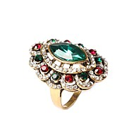 New Vintage Jewelry Women's Square Flower Multicolor Rhinestone Ring
