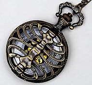 unisexe montre de poche en bronze reine colonne quartz montre de poche rabat