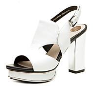 Aokang® Women's Platform Chunky Heel Sheepskin Sandals(white)