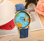 Women's Fashion Watch Quartz Strap Watch PU Band Vintage World Map Black White Blue Red Green Yellow