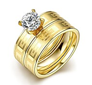 Fashion Sweet  Unisex's  White Zircon Gold-Plated Titanium Steel Couple Rings(Golden)(1Pc)