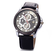 Men's Casual Fashionable Black High-end Business Watch Leather Band Wrist Watch Cool Watch Unique Watch