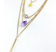 European Fashion Jewelry Gold Plated  Natural  Stone 4 Multilayer Chain Charm Necklace