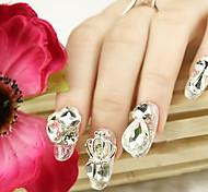 joyería de plata hermoso de uñas de diamante