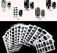 6pcs QJ-q179-194 adesivos cheia de pregos 16 modelos negras diferentes, 12 decalques / PCS (pack de 6 folhas aleatórios)