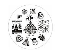 Natal, Santa, neve veados chapa de impressão manicure
