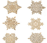 6Pcs Snowflake Wood Coasters Cup Mat Placemats for Table Decorations Gifts