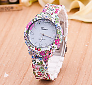 Women's European Style Geneva Fashion Flower Printed Wrist Watch