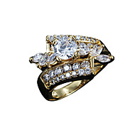Christmas Gift lady real zircon inlay party Statement Ring