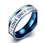 Fashion Generous Men's Blue Stripe English Alphabets Titanium Steel  Statement Rings(Silver-Blue)(1Pc)
