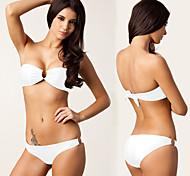 4 Colors Nylon Lycra Composited Fabric Bandeau Top U Ringed Removable Push up Padding Sexy Bikini Swimwear DM056