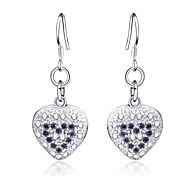 925 Silver Heart Shape Zircon Crystal   Drop Earrings 1pair