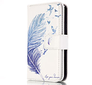 For iPhone 5 Case Wallet / with Stand Case Full Body Case Feathers Hard PU Leather iPhone SE/5s/5