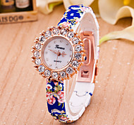 Women's European Style Fashion Printing Flower Rhinestone Wrist Watches