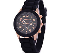 Men's Women's Unisex Fashion Watch Chronograph Quartz Silicone Band Black White Blue Red Orange Brown Green Pink Purple Yellow Beige Rose Strap Watch