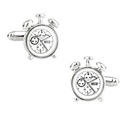 Men's Fashion Clock Style Silver Alloy French Shirt Cufflinks (1-Pair)