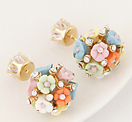 Women's New Fashion Boutique European Style Sweet Small Flower Shiny Rhinestone Stud Earrings