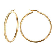 Hoop Earrings Stainless Steel Fashion Circle Golden Jewelry Party Daily Casual 1 pair