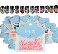 1set Includ 12 colors Paper Card Nail Art Glitter Beautiful Geometric Shape Like Shell Stickers Nail Art Decoration