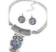 Women European Style Simple Fashion Metal Owl Necklace Earrings Set