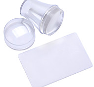 The New Manicure Seal 2 Piece Shaped Transparent Lid Seal + 3.8cm Transparent Silicone Scraper Head