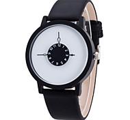 Women/Men's Leather Band Analog White Case  Wrist Watch Jewelry