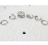 Ring Fashion Party / Daily / Casual Jewelry Women Midi Rings 1set,Adjustable Silver