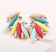 European Style Fashion Colorful Horse Eye Gemstone Angel Wings Earrings