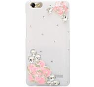 Rhinestone Back Cover for Huawei Honor 4C(white camellia powder)