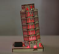 A torre inclinada de Pisa prédio 3 d brinquedos modelo de madeira montagem de quebra-cabeça criativo DIY luzes casa pintura Solar LED