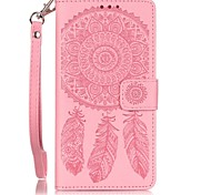 Campanula Inside and Outside the Card Holder Lanyard Embossed PU Leather Phone Case for Huawei P9lite/Y625