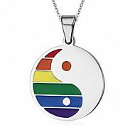 Unisex Fashion Rainbow Tai Ji Titanium Pendant for Necklace