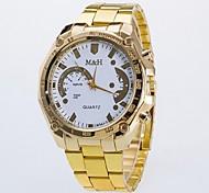 Herren Damen Paar Modeuhr Quartz Armbanduhren für den Alltag Legierung Band Gold Weiß Golden