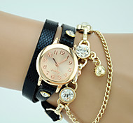 Women's European Style Fashion New Leather Chain Pendant Wrapped Bracelet Watch