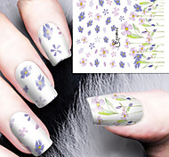 Fashion Printing Pattern Water Transfer Printing Violet Floret  Nail Stickers