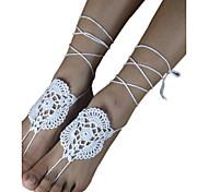 Frauen Baumwolle Armband Mode häkeln Netz Fußkette barfüßigsandelholze