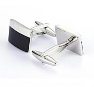 Men's Fashion Black Silver Alloy French Shirt Cufflinks (1-Pair)